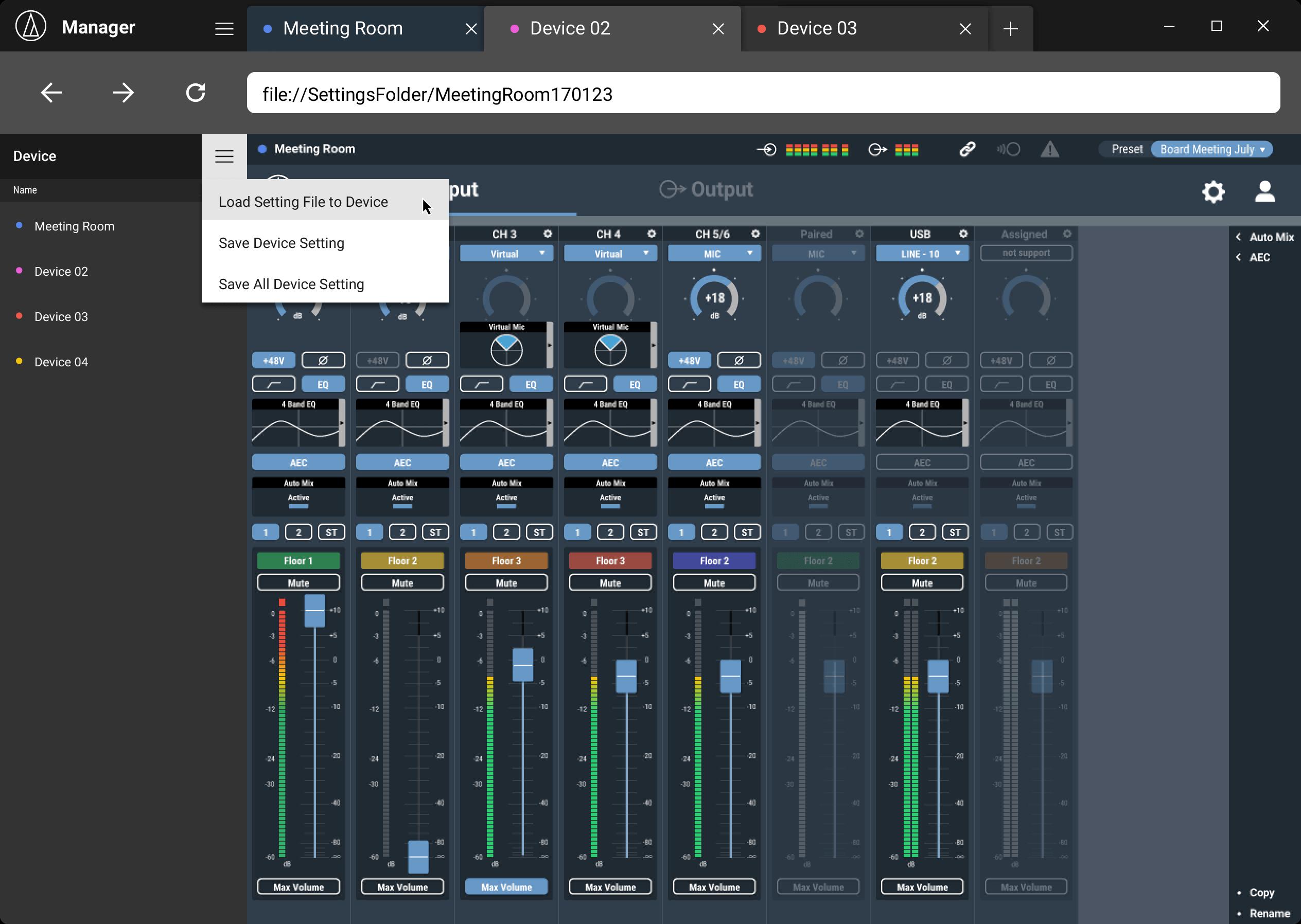Audio-Technica Mixer GUI Design